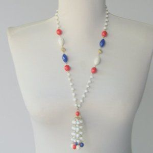 Vintage 1960s Red White and Blue Lariat Necklace